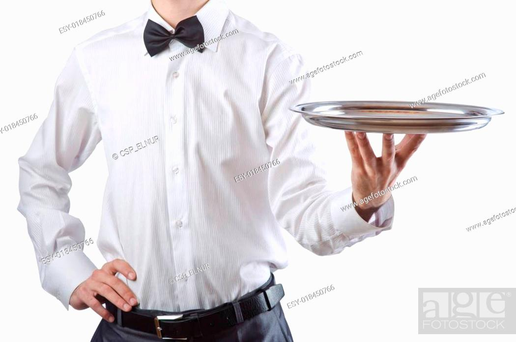 Photo de stock: Young waiter with silver tray.