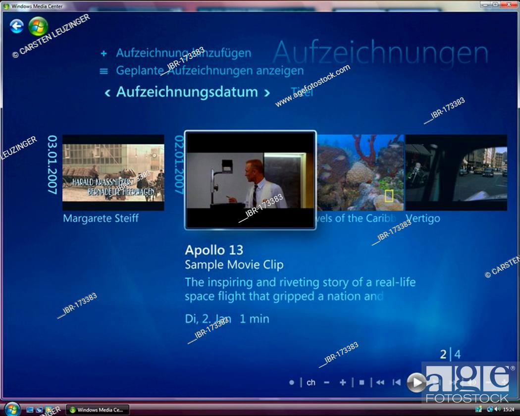 Photo de stock: Microsoft Windows Vista, german version, Media Center User Interface, Recorded TV Area, screenshot.