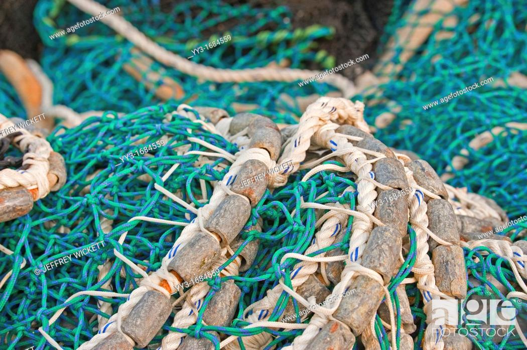 Pacific herring purse seine net and lead line on stack on for Seine net fishing
