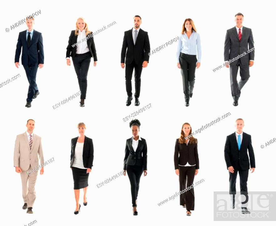 Stock Photo: Collage Of Confident Businesspeople Walking Over White Background.
