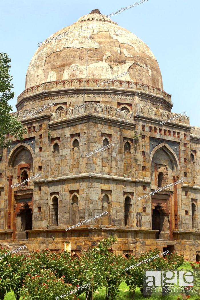 Stock Photo: Bara Gumbad Tomb Lodi Gardens New Delhi India.