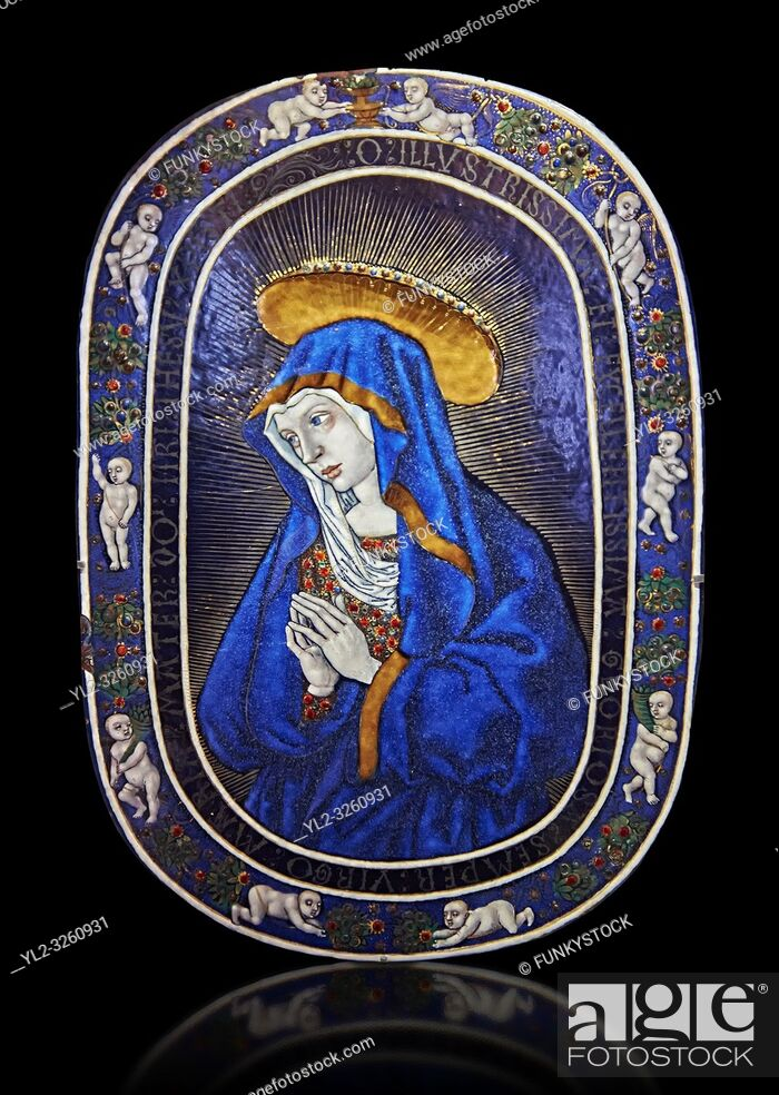 Stock Photo: Enamelled plaque of Louis 12th known as the Sorrowful Virgin made in Limoge around 1500. inv 11170, The Louvre Museum, Paris.