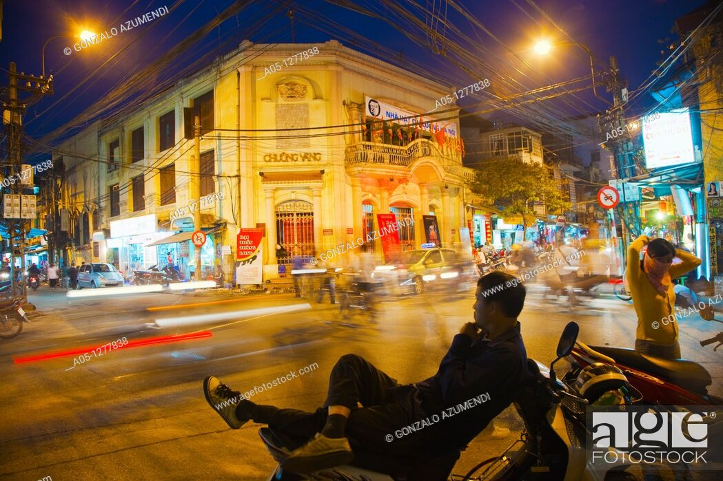 Stock Photo: Nha hat Chuong Vang or Golden Bell theatre. Vietnamese traditional theater.  Old City Hanoi Vietnam.