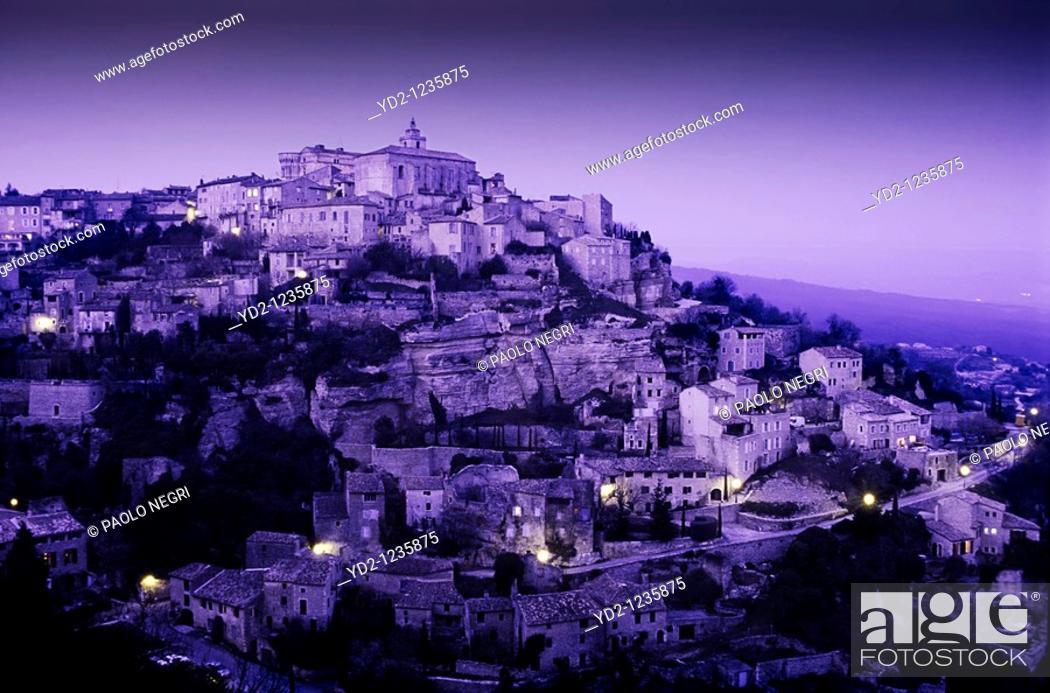 Stock Photo: France,Provence, Gordes, Hilltop village at night.