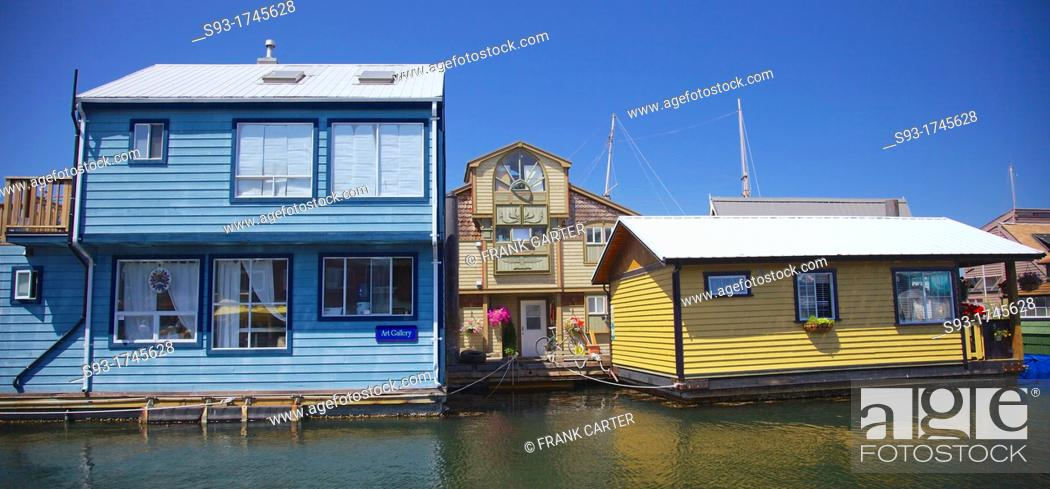 Stock Photo: House boats in Victoria's inner harbour.
