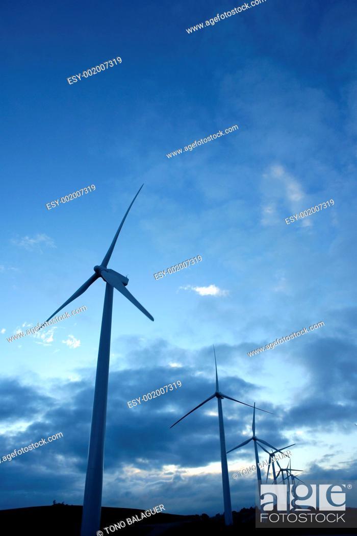 Stock Photo: Wind mills aerogenerator, ecological energy.