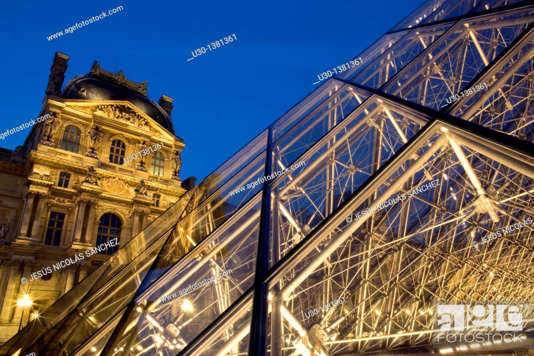 Stock Photo: Glass pyramid and Palais du Louvre, nowadays Louvre museum, listed as World Heritage by UNESCO  Paris  France.