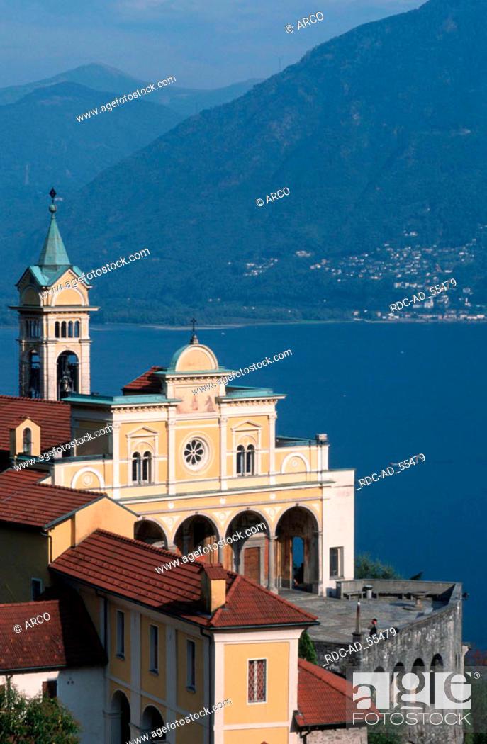 Stock Photo: Church Madonna del Sasso Lago Maggiore Ticino Switzerland Pilgrimage Church.