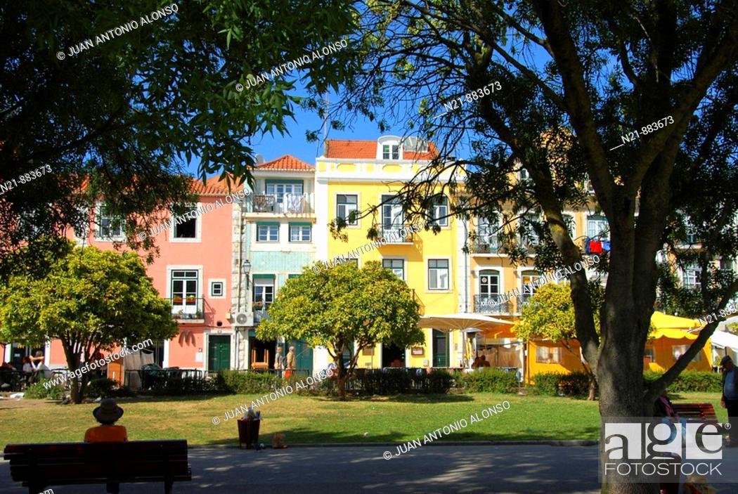 Stock Photo: Colourful Belem. Jardim Vasco da Gama. Lisbon, Portugal.