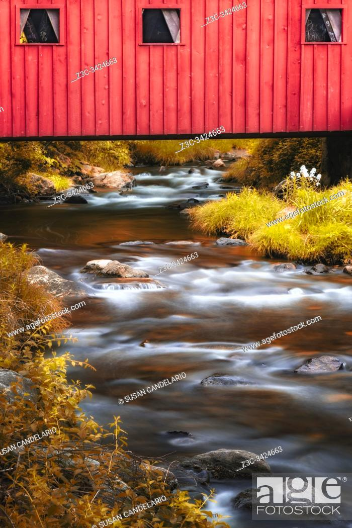 Stock Photo: Kent Falls Covered Bridge.