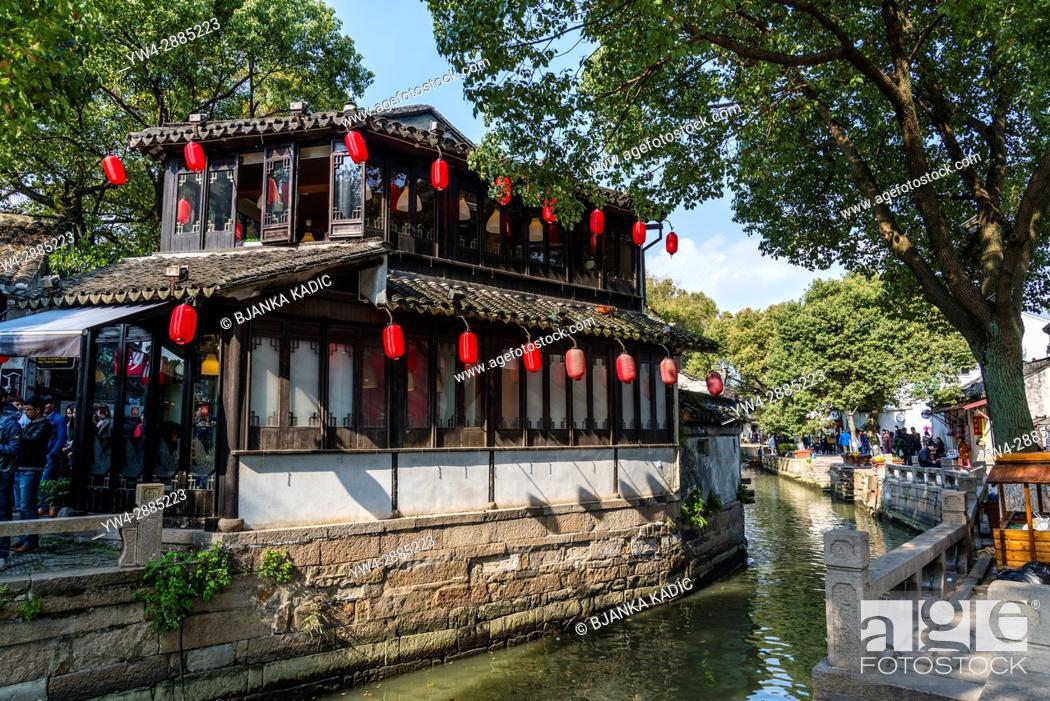 Stock Photo: Along the canal, Ancient water town of Tongli, Suzhou, Jiangsu Province, China.