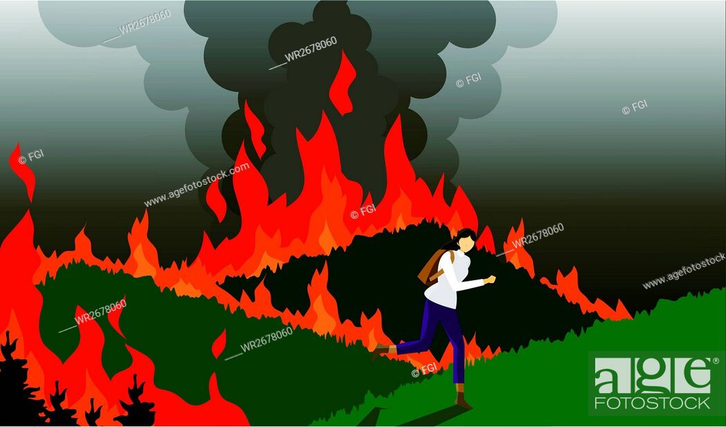 Stock Vector: Warming, Disadvantage, Environment, Vector, Fgi, Climate Change, Hand Gesture, Forest Fire, Global Warming, People, Woman, Sky, Mountain, Accident, Life, Weather, Grass, Lifestyle, Sadness, Backgrounds, Danger, Fire, Scenic, Illustration, Disaster, Damage, Structure, Climbing, Earth, Bag