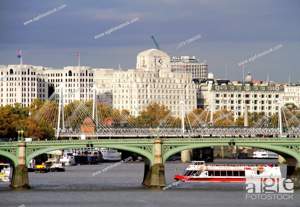 Stock Photo: Westminster Bridge foreground and Waterloo Bridge background, London, England, UK.