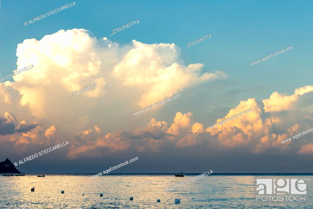 Stock Photo: clouds on the Sicilian sea at the end of summer.