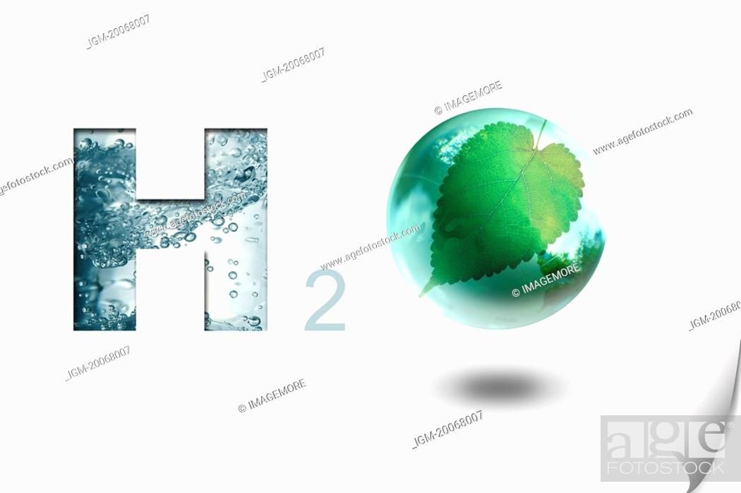 Stock Photo: Lohas, Environmental Conservation, Digitally generated image of symbol of water H2O.