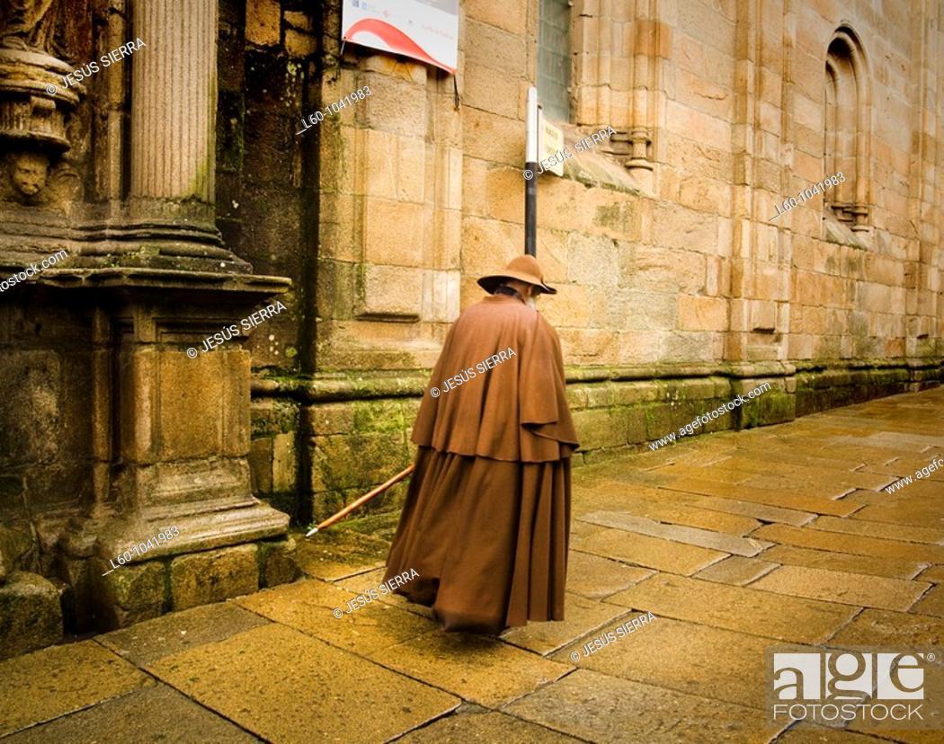 Stock Photo: Pilgrim in Santiago de Compostela City, Galicia Region, Spain, Europe.