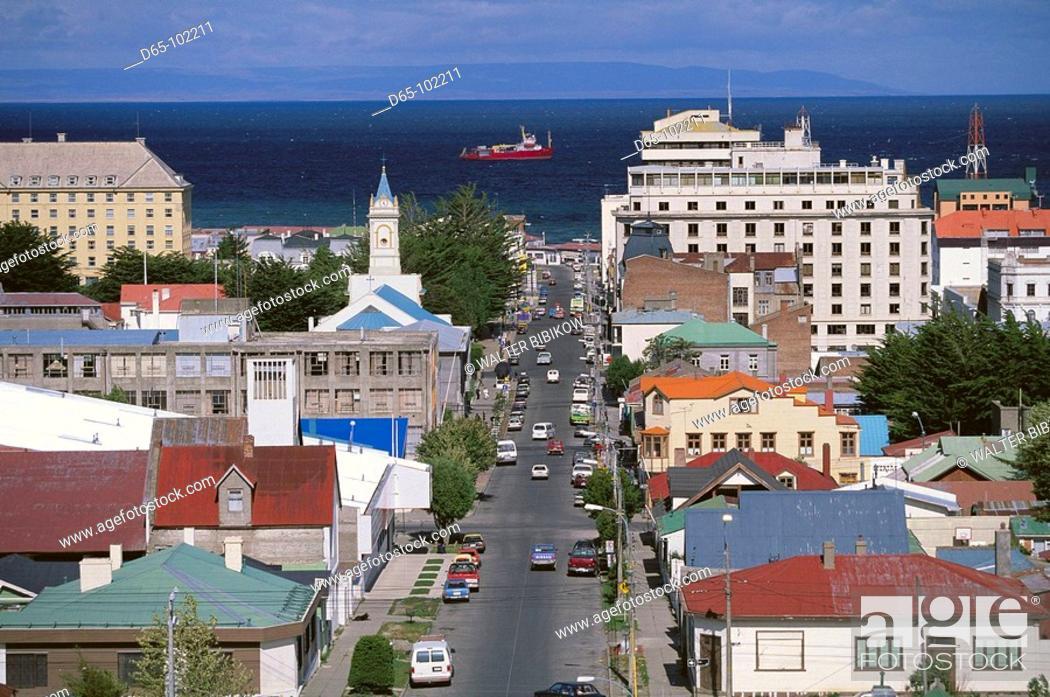 Stock Photo: View from Mirador de la Cruz, Punta Arenas. Chile.