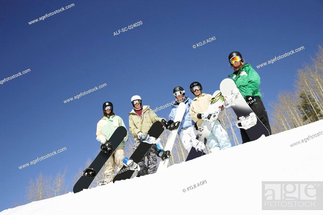 Stock Photo: Group of Snowboarders.