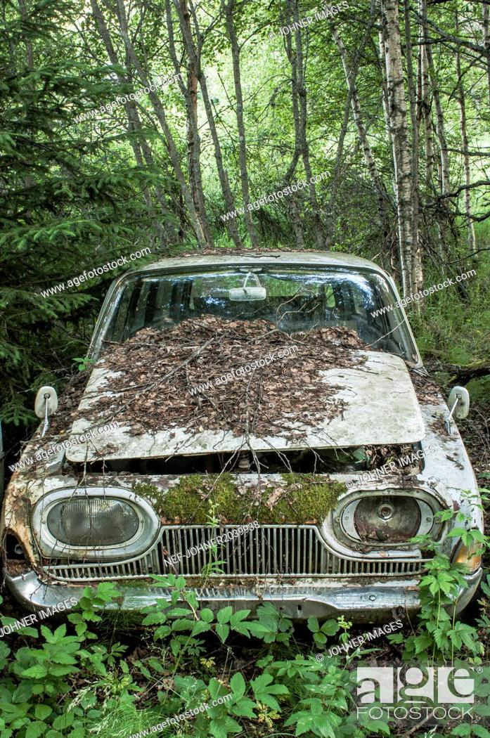 Stock Photo: Old car abandoned in forest.