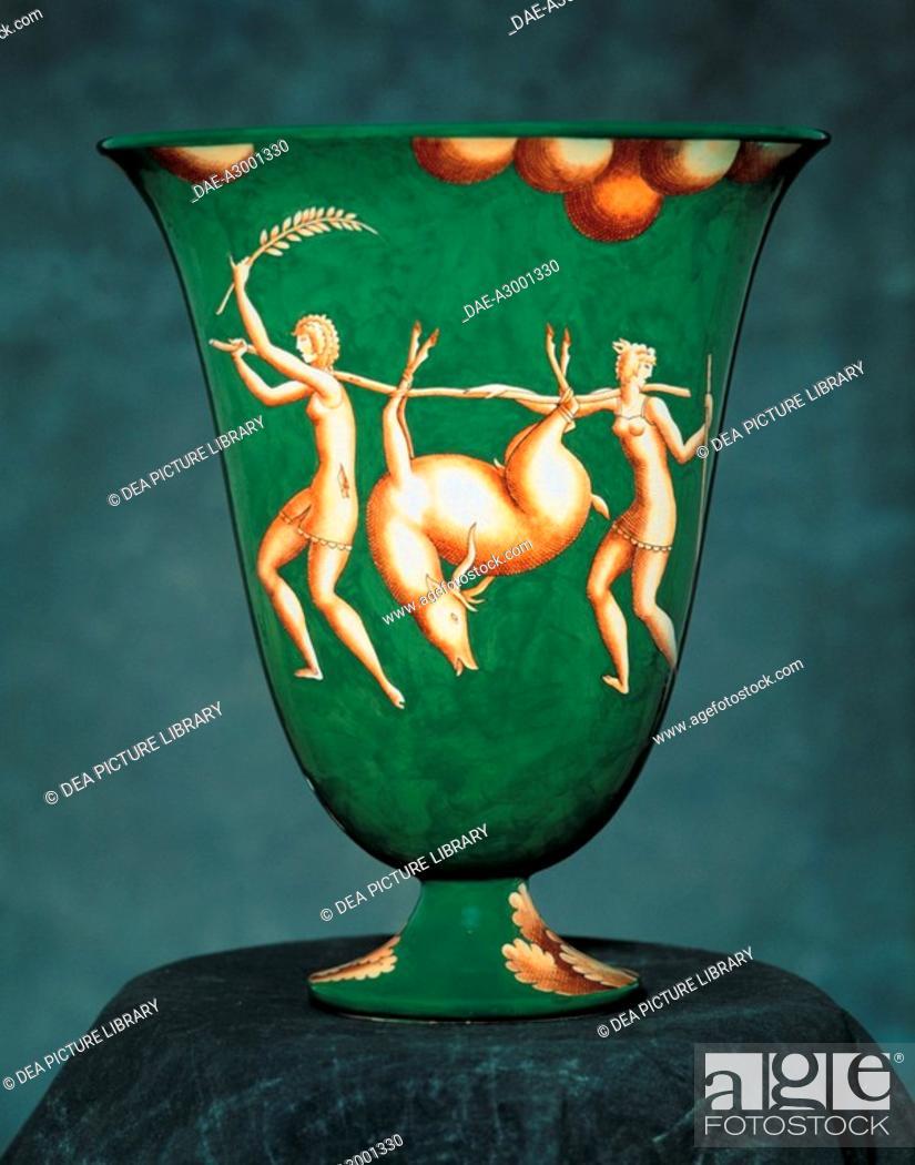 Stock Photo: Ceramics, Italy 20th century. Vase with hunting scenes. Green procelain. Disign Gio Ponti. Richard Ginori di Doccia production, 1925-1930.
