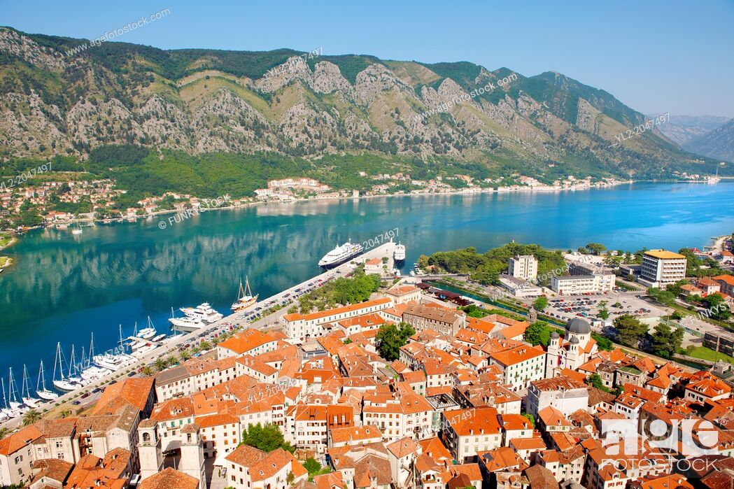 Stock Photo: Kotor bay from the fortifications above Kotor town, Montenegro.