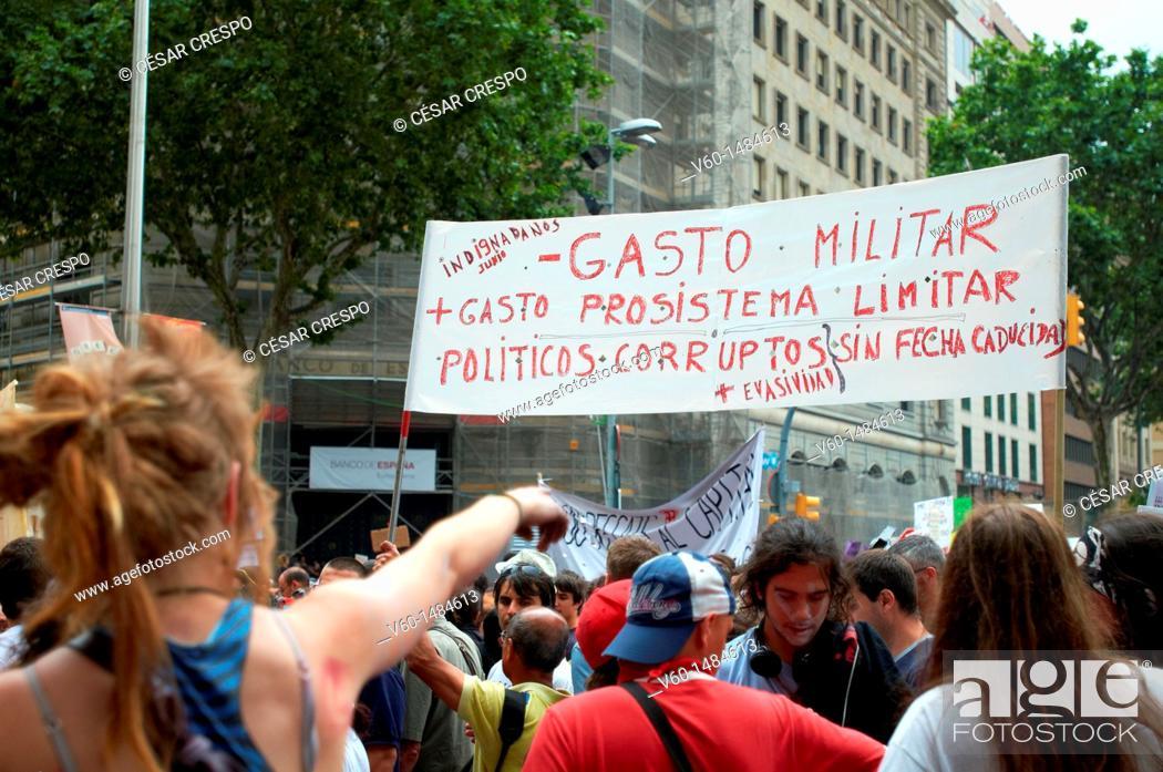 Stock Photo: -Demonstration Indignants Movement 15M- Barcelona (Spain).