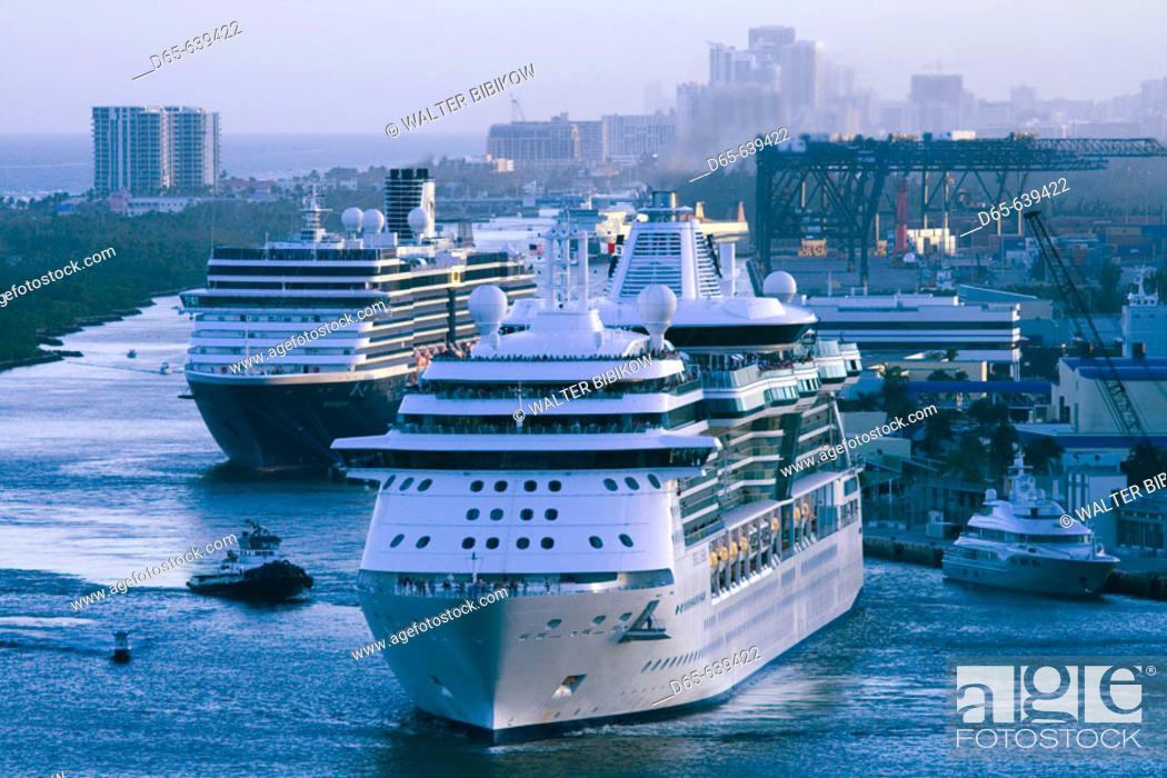 Stock Photo: Port Everglades. Departing Cruiseship at Dusk. Fort Lauderdale. Florida. USA.