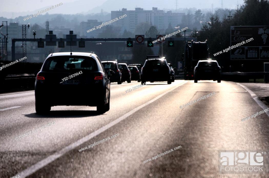 Stock Photo: Highway Lausanne - Geneva, Switzerland, Europe.