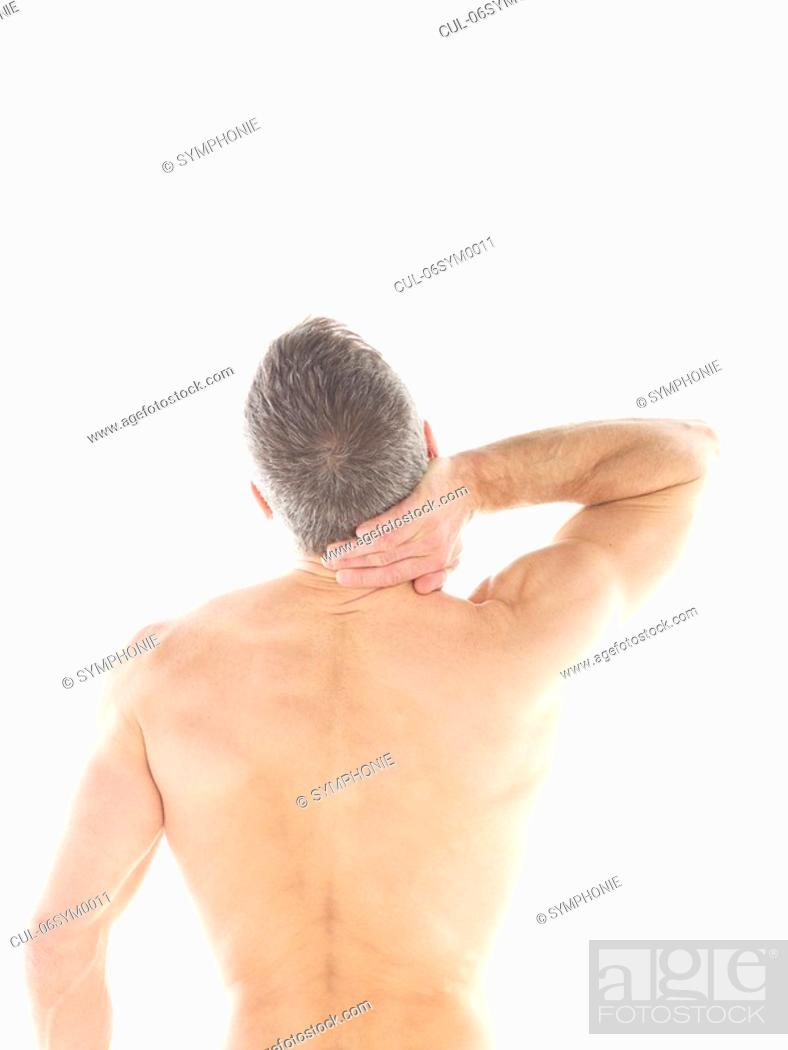 Stock Photo: Mature man rubbing neck.