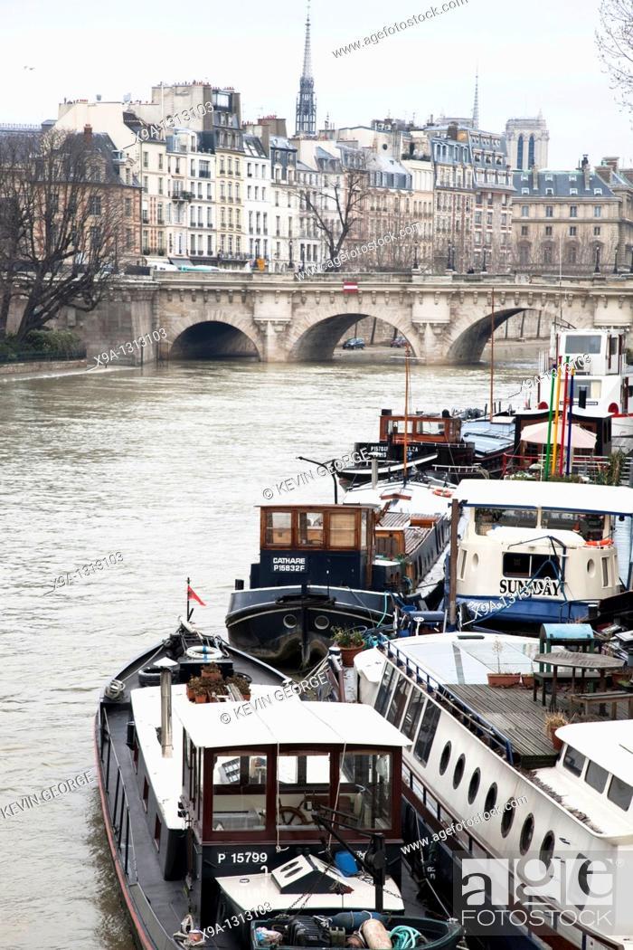 Stock Photo: Ile de la Cite and the River Seine with Barges. Paris, France.