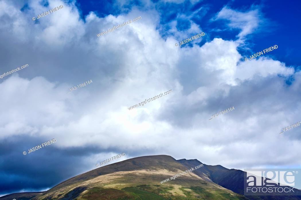 Stock Photo: England, Cumbria, Lake District National Park. Blencathra, a mountain in the Northern Lake District near the town of Keswick also known as Saddleback.