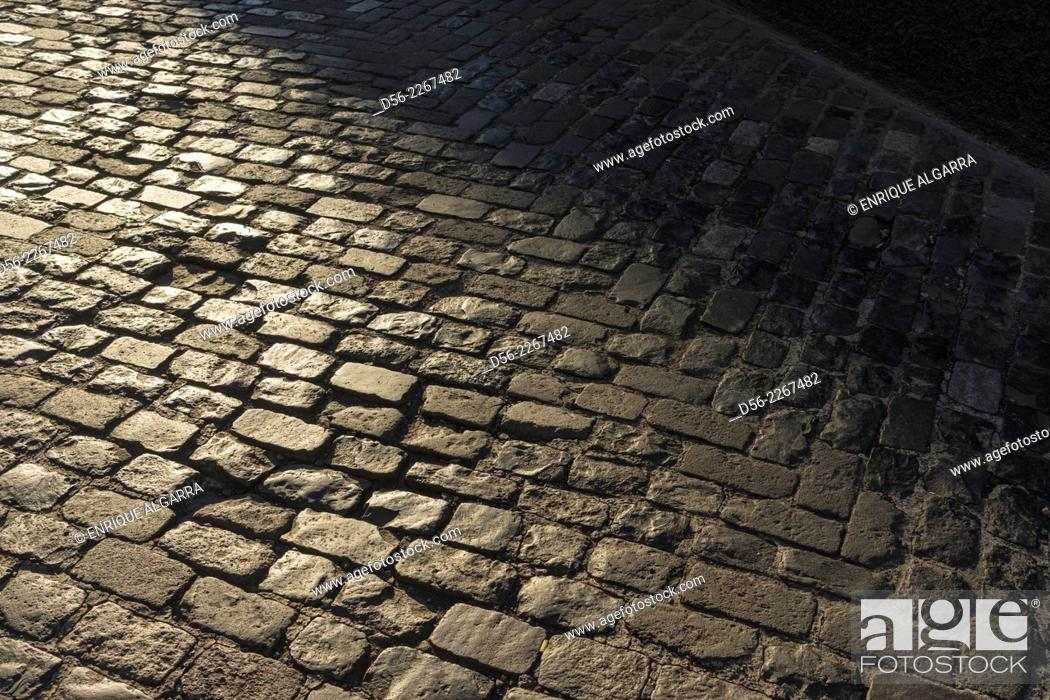 Stock Photo: Cobblestones in the street, Funchal, Madeira Island, Portugal.
