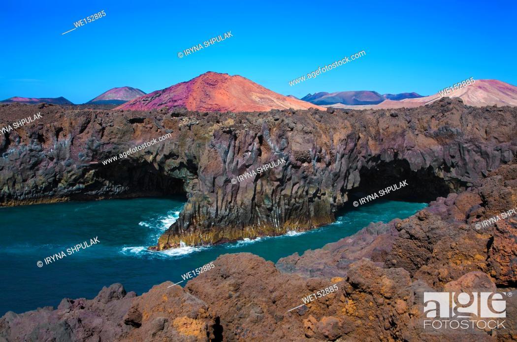 Stock Photo: Lava cliffs Los Hervideros, Island Lanzarote, Canary Islands, Spain.