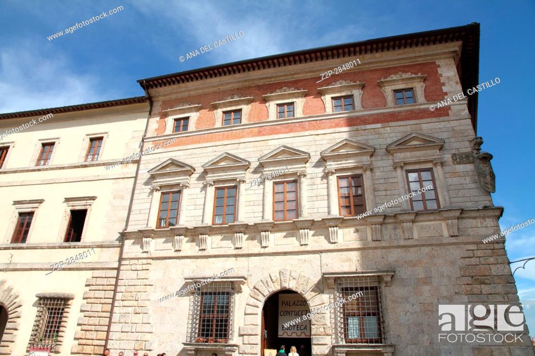 Stock Photo: Palazzo Contucci at Piazza Grande at the top of Montepulciano, Tuscany, Italy.
