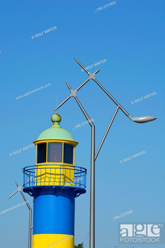 Stock Photo: Lighthouse at the port of Eckernfoerde, Schleswig-Holstein, Germany.