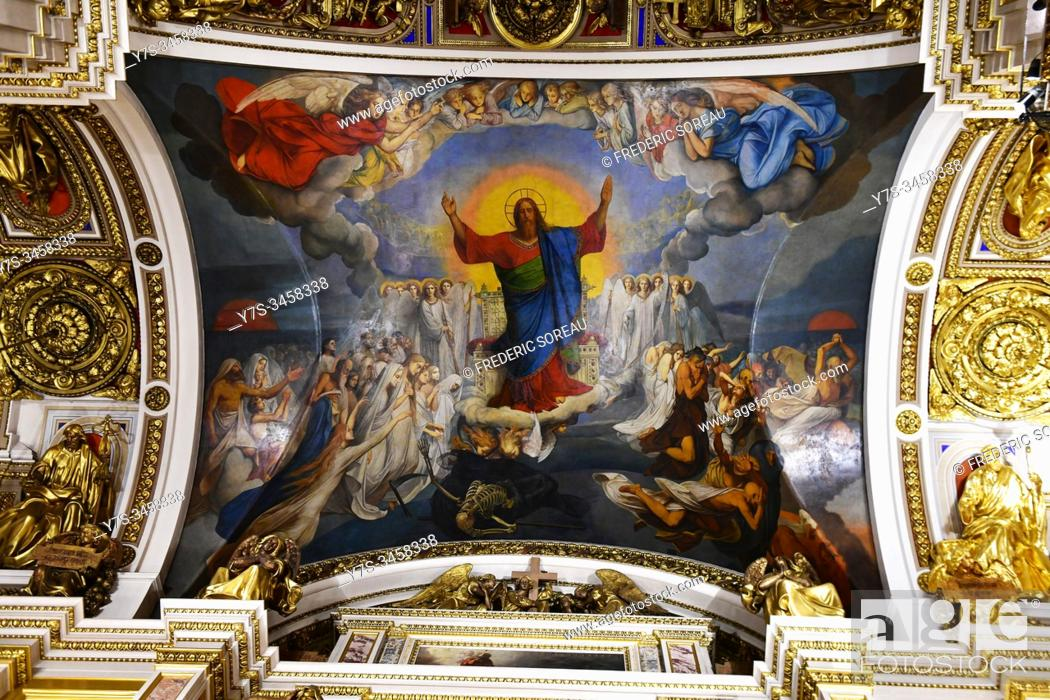 Stock Photo: Interior of Sant Isaac's Cathedral or Isaakievskiy Sobor, Sant Petersburg, Russia.
