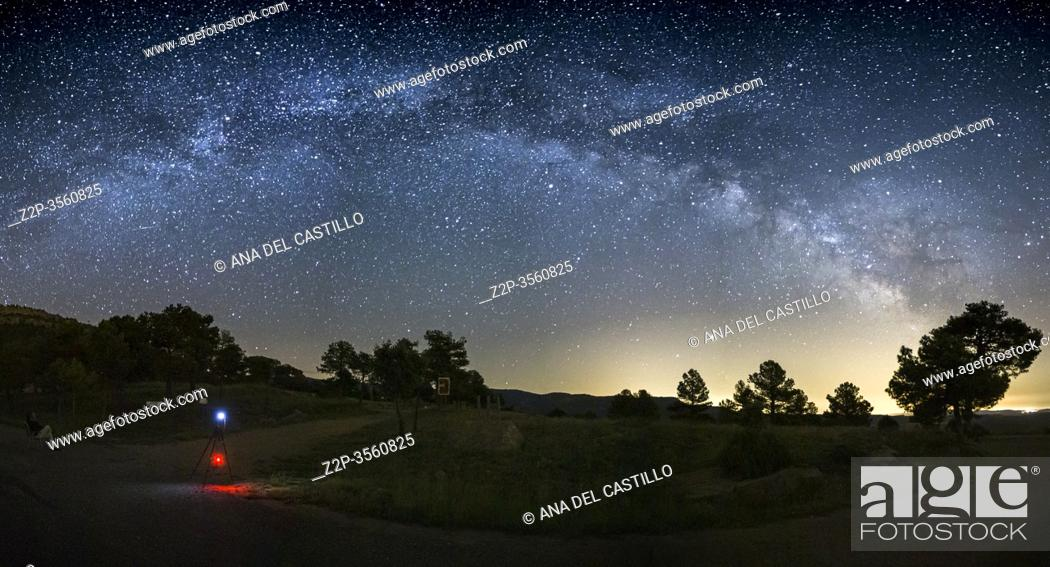 Stock Photo: Milky way over Gudar mountains Teruel starlight spot in Spain.