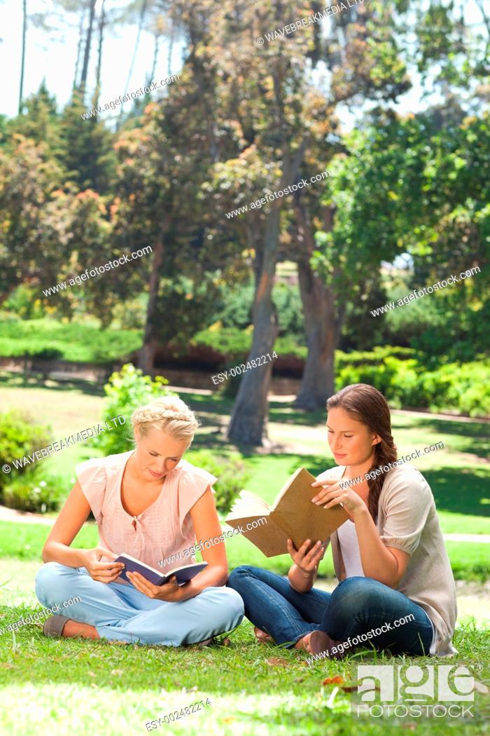 Photo de stock: Female friends reading their books in the park.