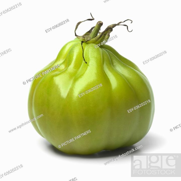 Photo de stock: Single green Coeur de boeuf tomato on white background.