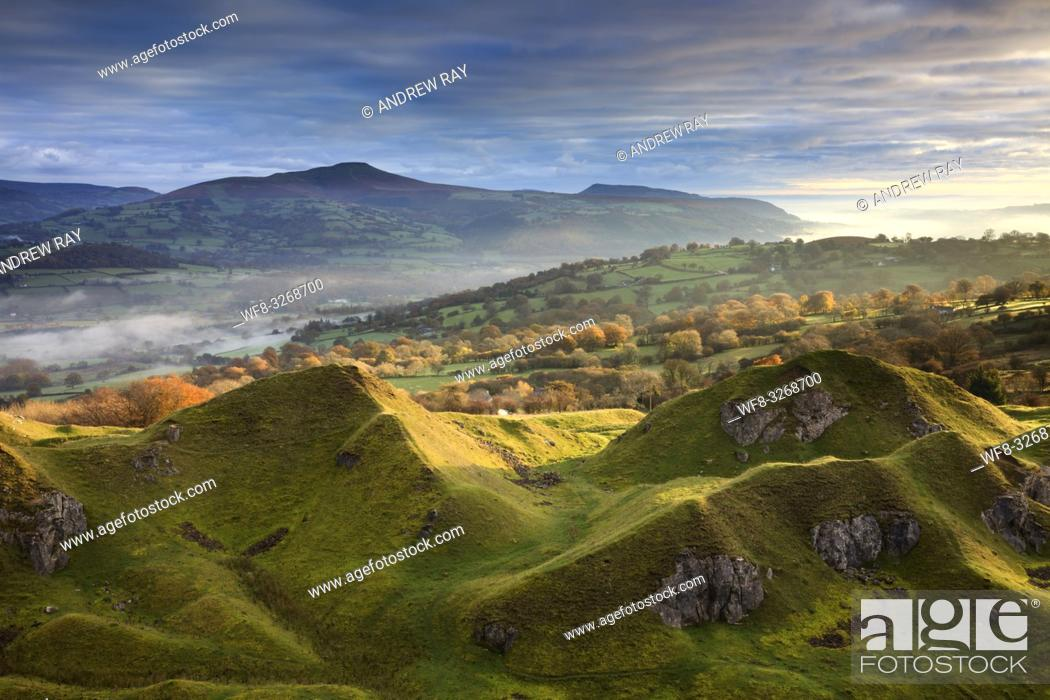 Stock Photo: Sunrise captured at the Llangattock Escarpment in the Brecon Beacons National Park on a still frosty morning in late October.