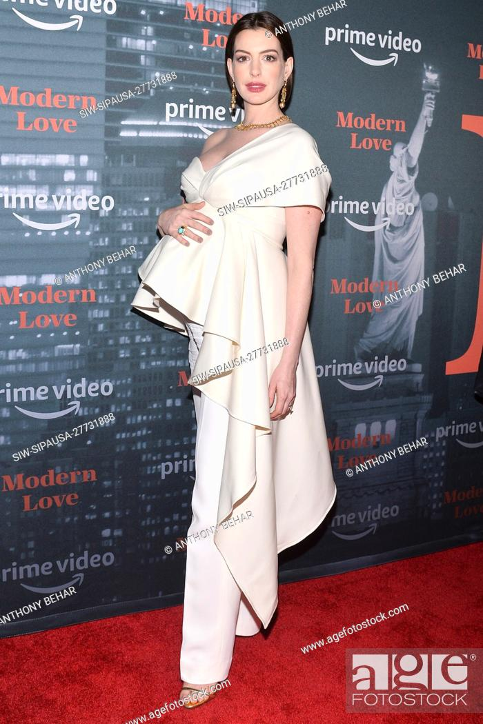 """Stock Photo: Actress Anne Hathaway attends the """"Modern Love"""" Amazon original series premiere at the Museum of Mondern Love (MoML) in New York, NY, October 10, 2019."""