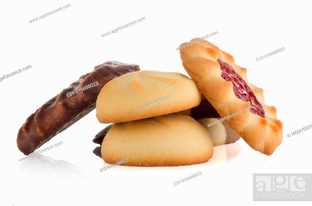 Stock Photo: Strawberry biscuit on white reflective background.