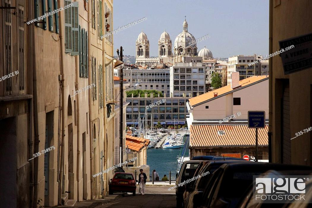 Stock Photo: French. Provence. Marseille. The view of Old port(Port Vieux) with Cathedrale de la Major in the background.