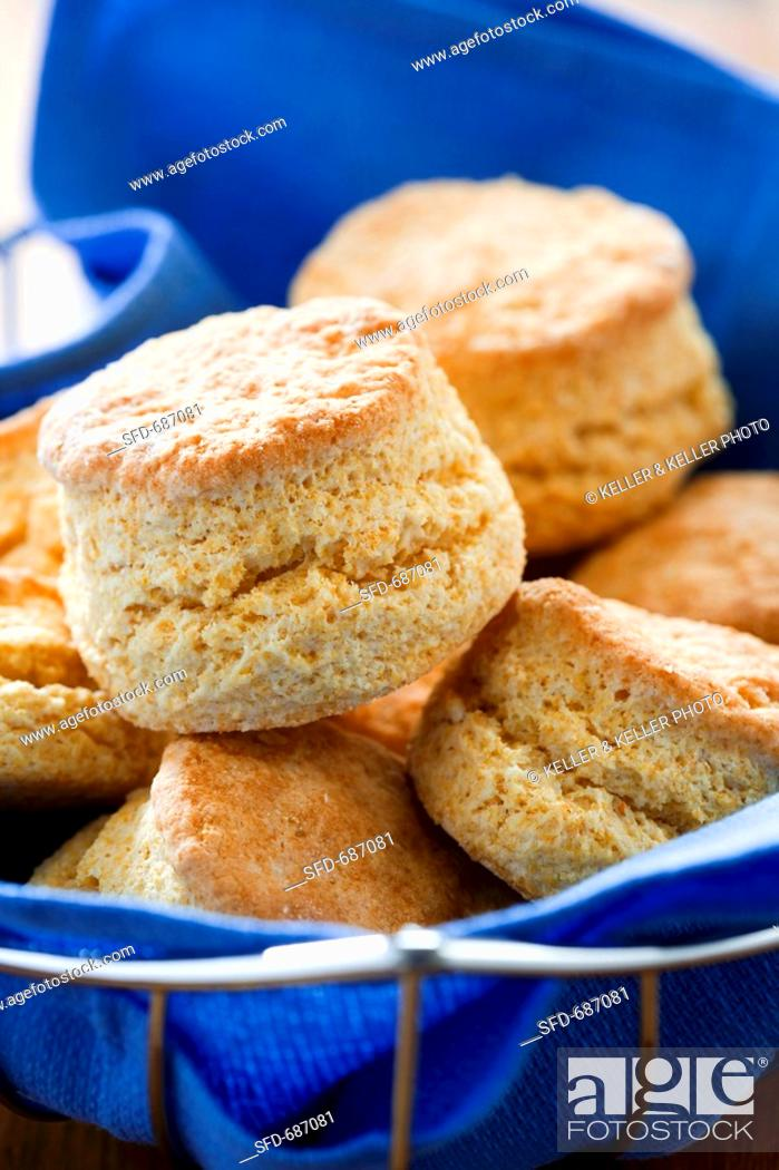 Stock Photo: Cornmeal Biscuit in Wire Basket.
