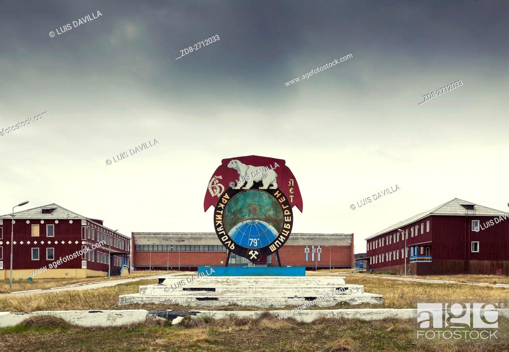 Stock Photo: the symbol and emblem of Pyramiden. Pyramiden was founded by Sweden in 1910 and sold to the Soviet Union in 1927. It lies at the foot of the Billefjorden on the.