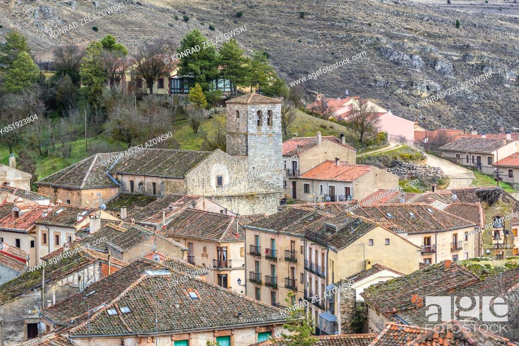 Stock Photo: Sepulveda town in Province of Segovia, Castile and Leon autonomous community in Spain, view with San Bartolome church.