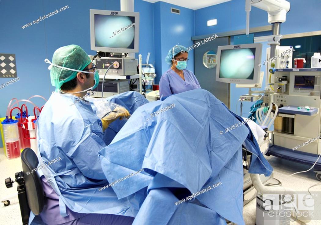 Stock Photo: Prostate surgery, bipolar TURP (transurethral resection of the prostate), urology. Hospital Policlinica Gipuzkoa, San Sebastian, Donostia, Euskadi, Spain.
