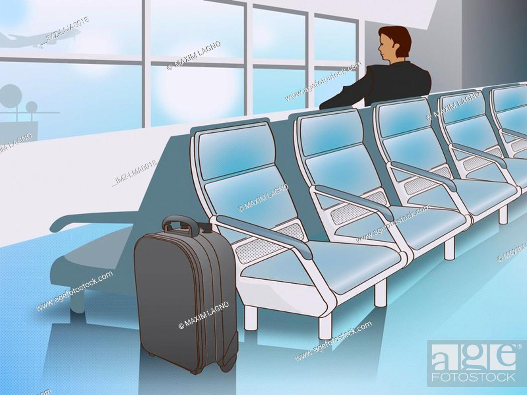 Stock Photo: A man waiting at the airport for his flight.