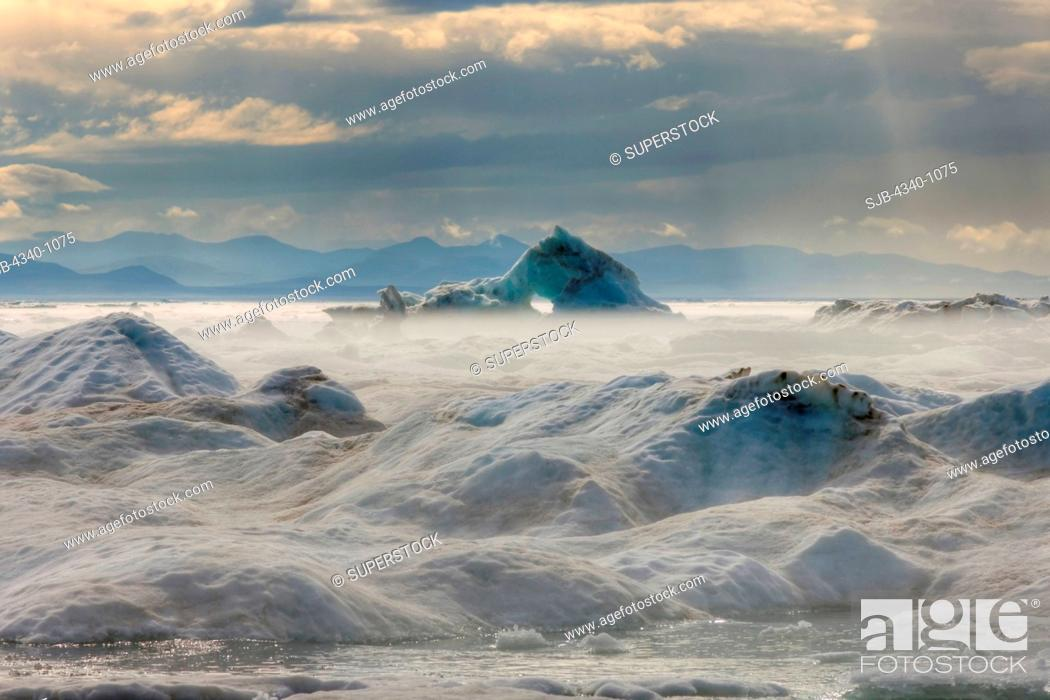 Stock Photo: Shorefast Ice in the Beaufort Sea During Summertime.