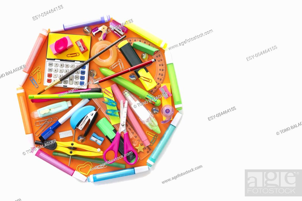 Stock Photo: School supplies octagon shape back to school concept isolated on white.